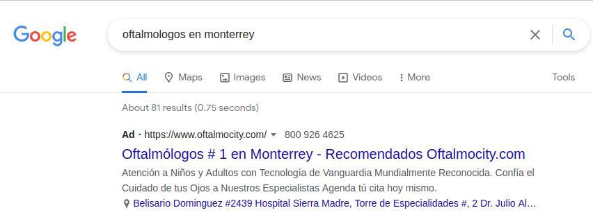Anuncio de Google Ads para médicos