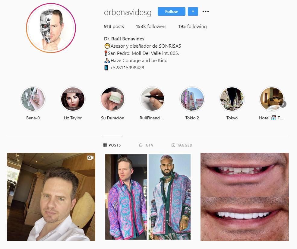 Perfil de Instagram Dr. Benavides para su marketing médico