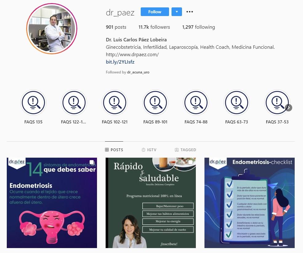 Perfil de Instagram Dr. Páez para su marketing médico