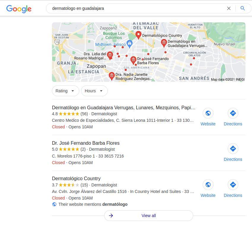 Google Mi Negocio para médicos