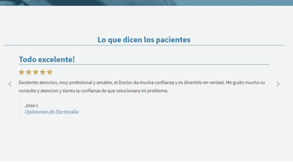 Un buen marketing médico muestra opiniones de pacientes en el sitio web