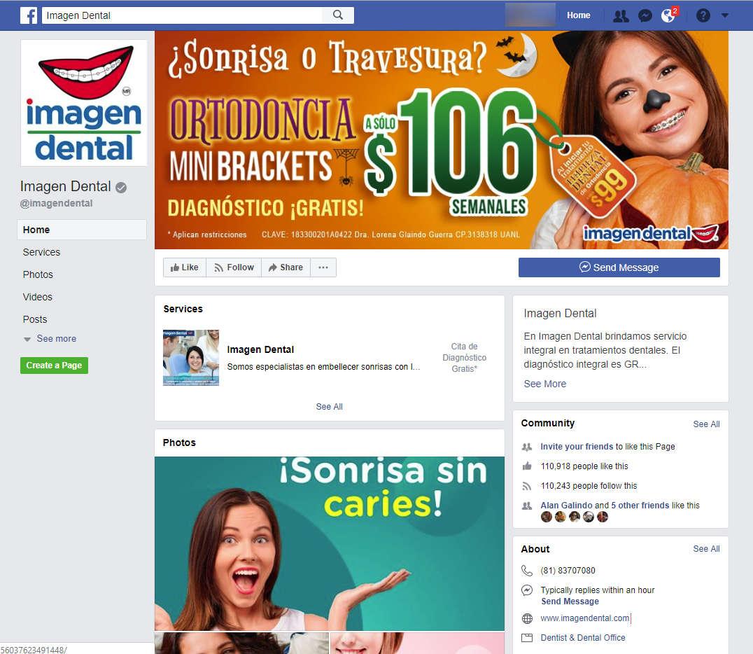 Pagina de Facebook de un marketing odontológico