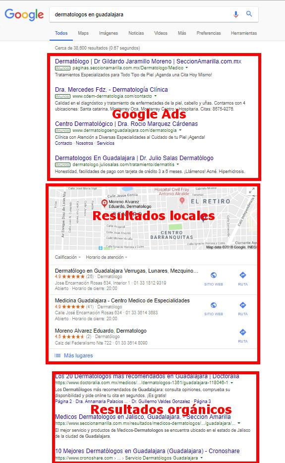 Resultados de búsqueda de Google