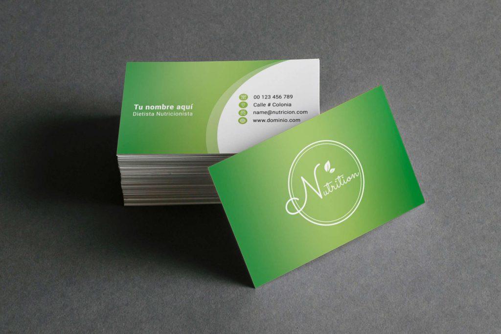 Tarjetas de presentación para nutriólogos