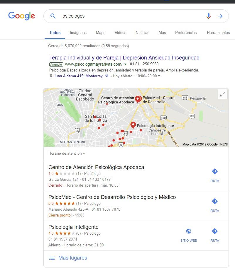 Motores de búsqueda en el marketing para psicólogos