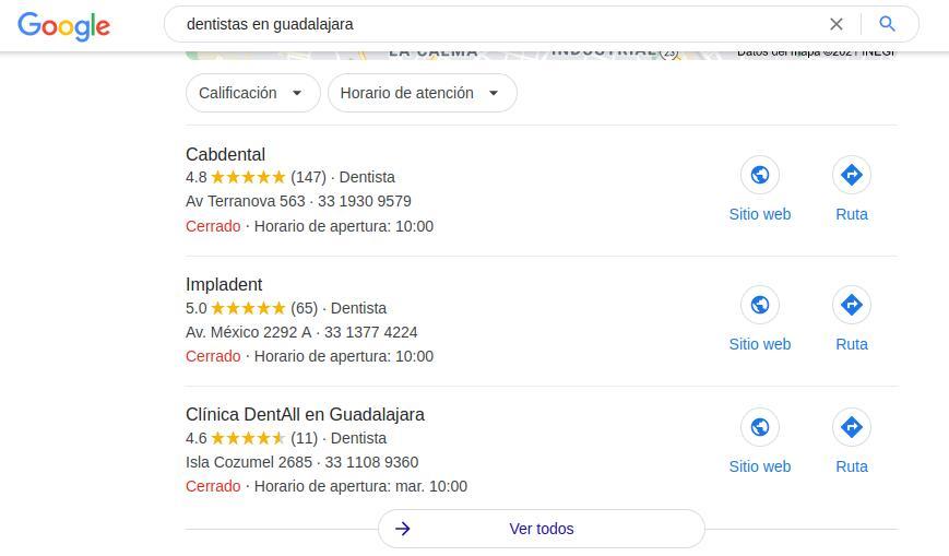 Posicionamiento web de Cabdental